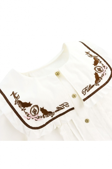 Neck Long Shirt Pleated Round Button Cat Sleeves Letter Embroidered Elegant Down Bv0IfRx