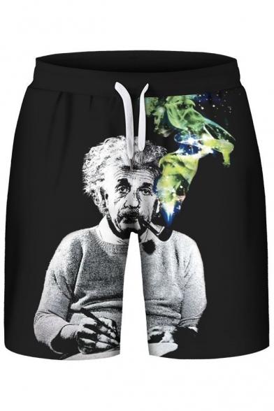 Funny Einstein Smoke Print Drawstring Waist Sports Shorts