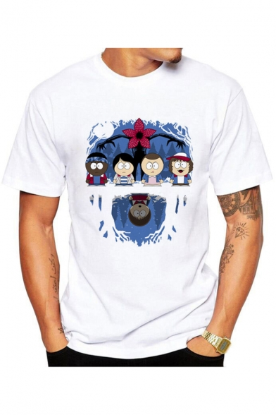 Popular Sleeve Short Character Crew Basic Tee Neck Cartoon Printed RnRqOwrv
