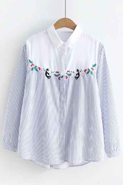 Shirt Style Color Floral Front Block Embroidered Cat Button Retro Striped zqOwxdSSv
