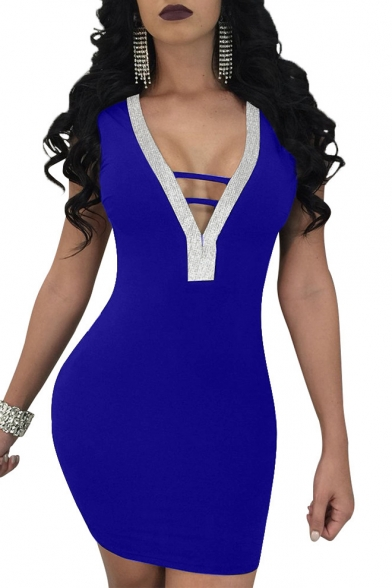 Back Hollow Dress Neck Bodycon Out Sequined Sexy Mini V Sleeveless wvYqYI