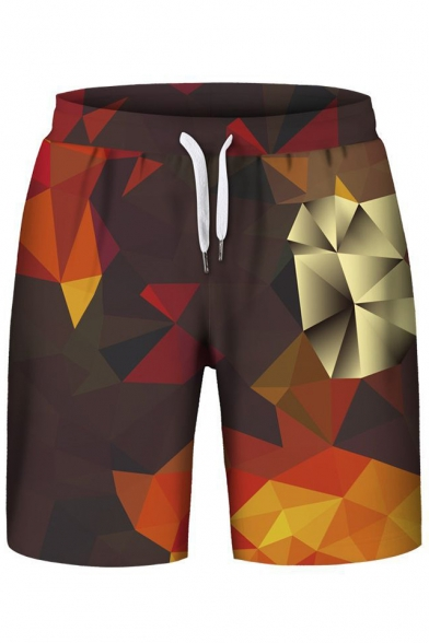 Trendy Geometric Color Block Sleeveless Hoodie with Sports Shorts