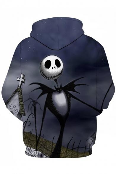 Hoodie Drawstring Sleeve Hood Long Printed Skull Loose Digital wqB041W