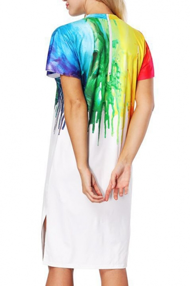 Crew Paint Midi shirt Side Sleeve Short Popular Color T Block Split Colorful Dress Neck w5aFqI