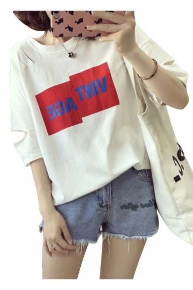 Casual Letter Half Neck Tee Detail Cutout Sleeves Hollow Round Popular Pattern Un0qdazz