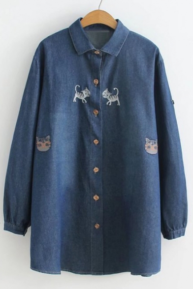 Image of Adorable Cat Embroidery Button Front Loose Trendy Tunic Denim Shirt