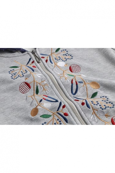 Floral Embroidered Lace Trim Long Sleeves Zippered Hoodie
