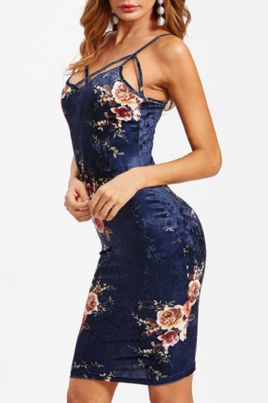 Retro Floral Printed Spaghetti Straps Sleeveless Crisscross Front Velvet Mini Cami Dress