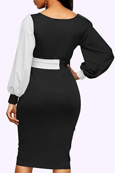 V Neck Color Block Lantern Long Sleeve Tied Waist Midi Pencil Dress