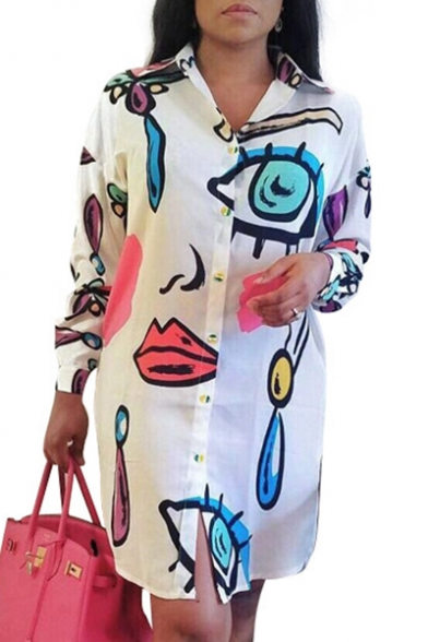 Chic Printed Lapel Collar Long Sleeve Buttons Down Mini Shirt Dress