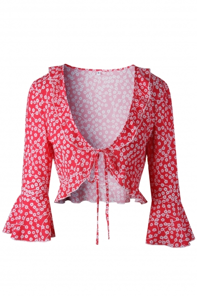 Chic Sexy V Neck Floral Printed Half Sleeve Tied Front Cropped Blouse