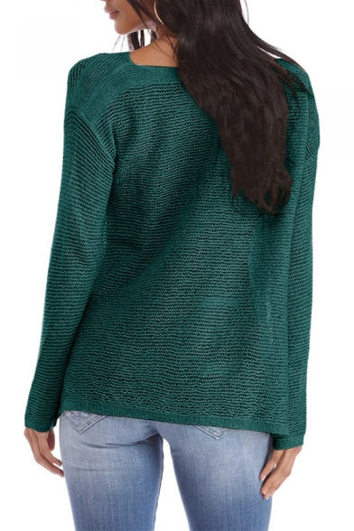 Leisure Plain Slash Neck Long Sleeve Dip Hem Split Side Knit Sweater