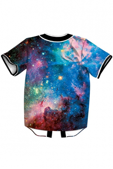 Cool Front Sleeve Baseball Tee Button Print Design Galaxy Short rqn4wRArp