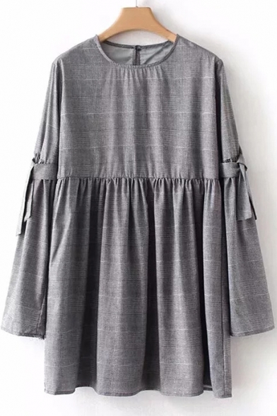 Cute Simple Plaid Round Neck Long Sleeve Mini Smock Dress