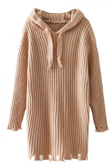 Fashionable Long Sleeves Cutout Hollow Hem Hooded Ribbed Knitted Sweater Mini Dress