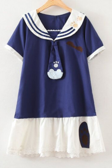 Girlish Color Block Navy Collar Bear Paw Embroidered Necktie Swing Mini Dress