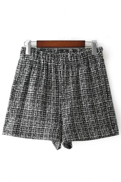 New Stylish Check Print Elastic Waist Print Shorts