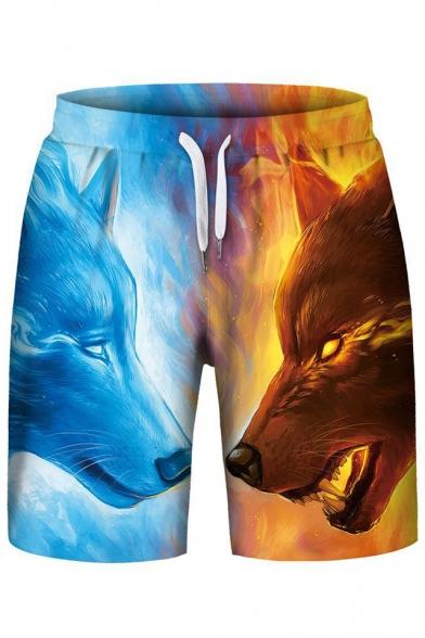 Popular Flame Ice Wolf Print Drawstring Waist Sports Shorts