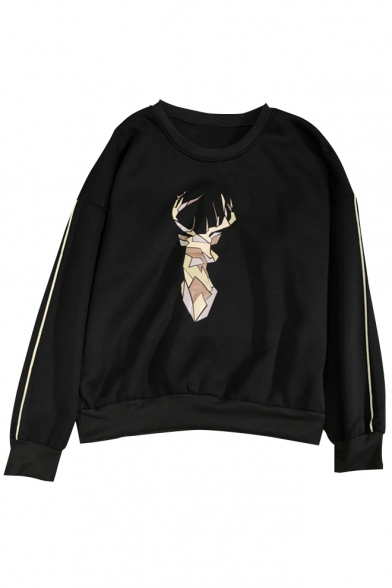 Stylish Geometric Deer Pattern Striped Sleeve Pullover Sweatshirt