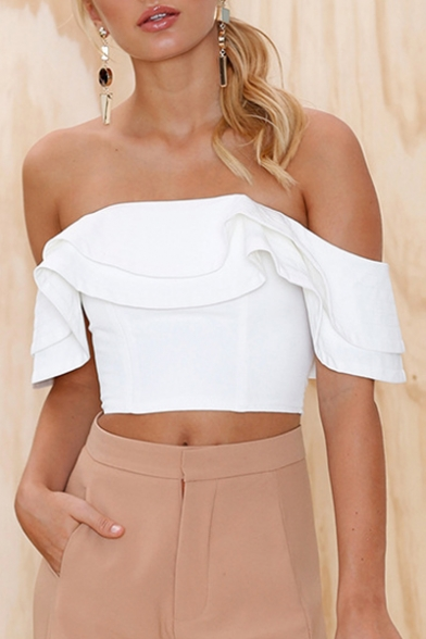 Plain Ruffle Cropped Sleeve Short Tee Shoulder Chic Off Hem The q1wYa
