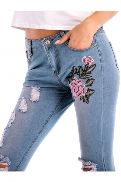 Hot Popular Floral Embroidered Zipper Fly Ripped Jeans
