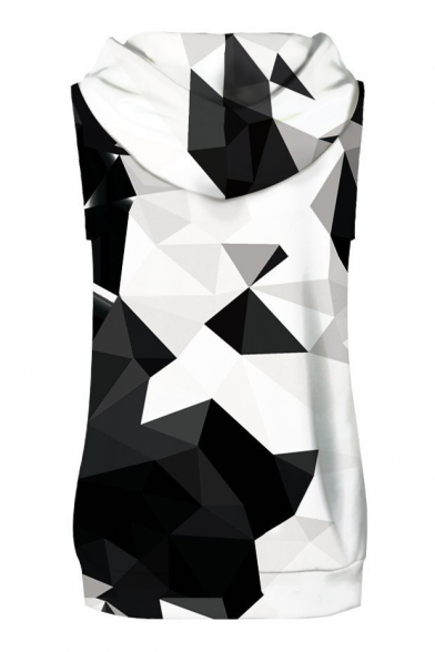 Spring Fashion Geometric Print Color Block Sleeveless Hoodie with Sports Shorts