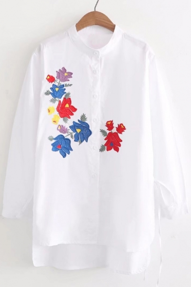 Women's Embroidered Fashion Shirt Dipped Round Button Neck Floral Tunic Hem Down rwwpBx