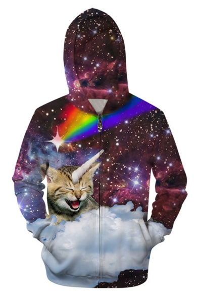 cbc4625a0244 3D Galaxy Cat Printed Long Sleeve Zip Up Hoodie with Pockets -  Beautifulhalo.com