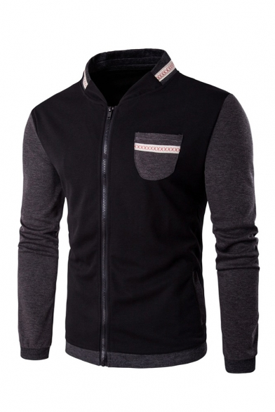Color Block Stand Up Collar Long Sleeve Zip Up Jacket with Pocket