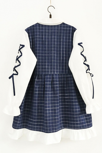 Girlish Gingham Plaids Color Block Peter Pan Collar Lace-up Sleeve Smock Mini Dress