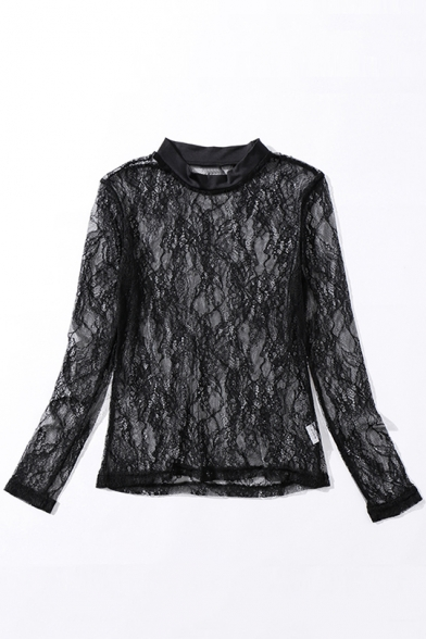 Sexy Sheer Lace Rose Crochet Round Neck Long Sleeve Blouse