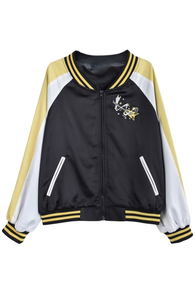 Sportive Color Block Cartoon Chinese Guitar Embroidered Zip Up Baseball Jacket