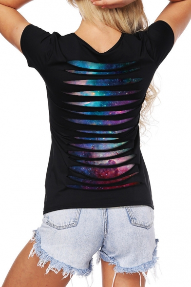 Galaxy Back Hollow Scoop Sale Neck Top Cutout Tee Layered Pattern wvqxInFT