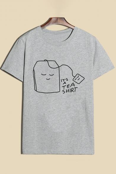 Adorable Cartoon Teabag Print Round Neck Short Sleeves Casual Tee