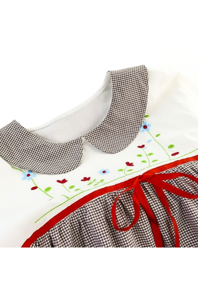Cute Fashion Gingham Plaids Peter Pan Collar Floral Embroidery Bow Waist Mini Smock Dress