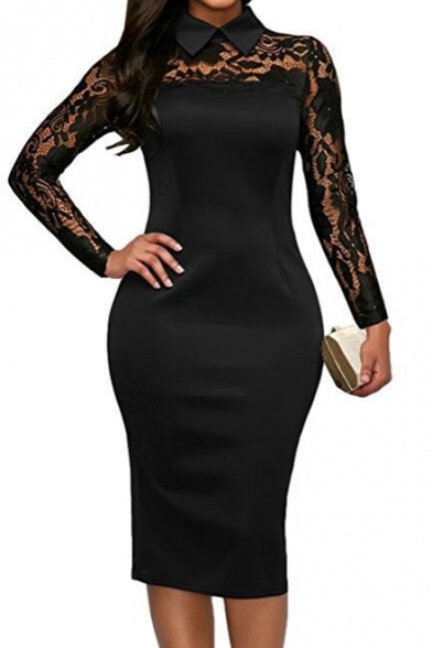 3dc4d9f2 Floral Sheer Lapel Collar Lace Insert Long Sleeve Midi Pencil Dress -  Beautifulhalo.com