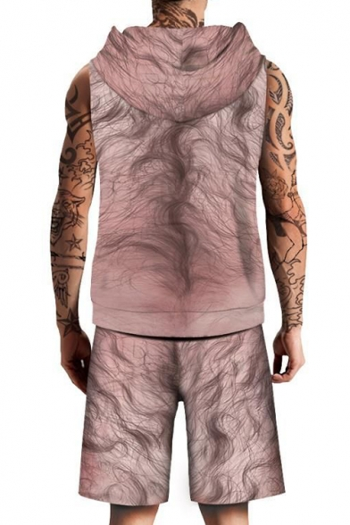 Funny Muscle Human Body Print Sleeveless Hoodie with Sports Shorts