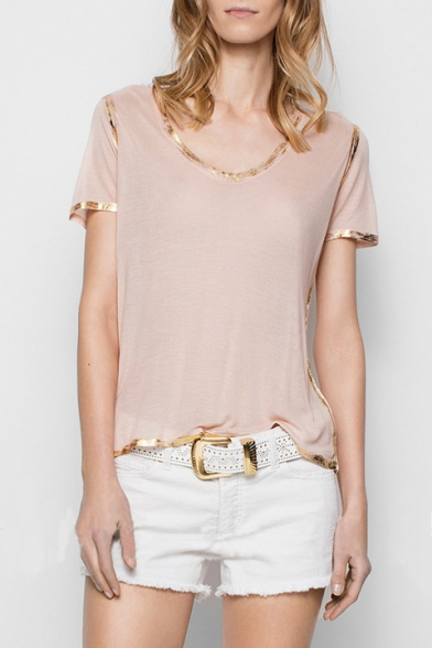 c2a7607bb Contrast Gold Trim Round Neck Short Sleeve Leisure Tee