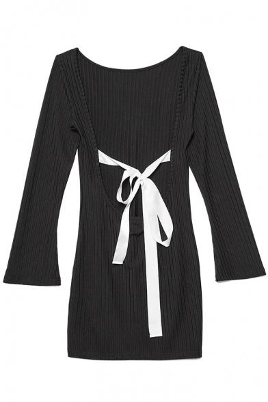 Hot Stylish Bow Tie Back Boat Neck Long Sleeves Mini Bodycon Dress