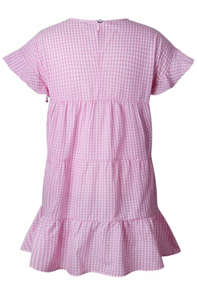 Short Flare Swing Round Plaid Neck New Dress Stylish Sleeve Mini xw1Xq1CBI