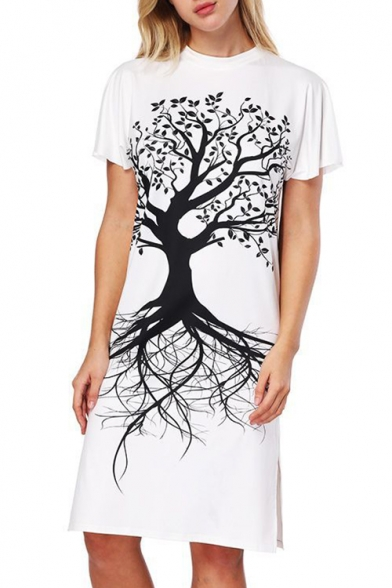 Simple Tree Print Crew Neck Short Sleeve Split Side Midi T-shirt Dress
