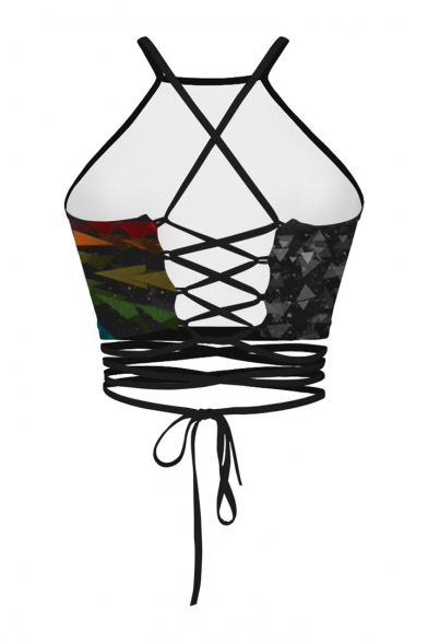 Cami Pattern Open Crisscross Cropped Sexy Moon Trendy Back Tie Zq8U5
