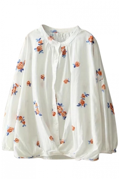 Chic Floral Pattern Round Neck Button Front Loose Casual Shirt