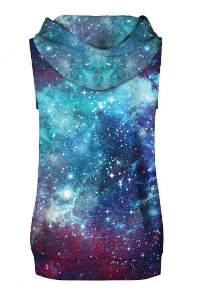 Chic Galaxy Starry Sky Print Sleeveless Hoodie with Sports Shorts