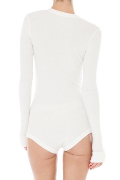 Plain Round Down Sleeve Chic Simple Long Neck Bodysuit Buttons AFw1q