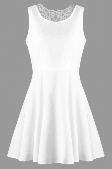 Crochet Panel Back Sleeveless Round Neck Plain Mini A-Line Dress
