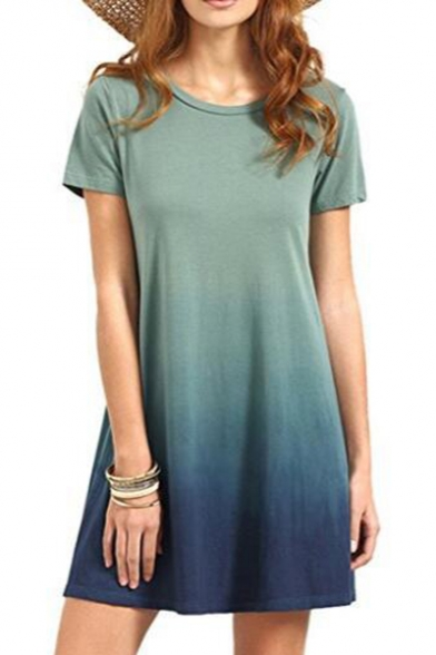 Leisure Ombre Printed Round Neck Short Sleeve Mini A-Line Dress