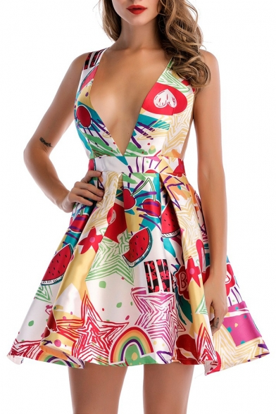 Sexy Fashion Printed Plunge Neck Sleeveless Hollow Out Back Mini Skater Dress