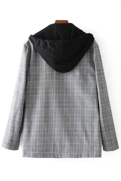 Hood Breasted Classic Coat Contrast Sleeve Long Plaid Print Double atHxwqROH