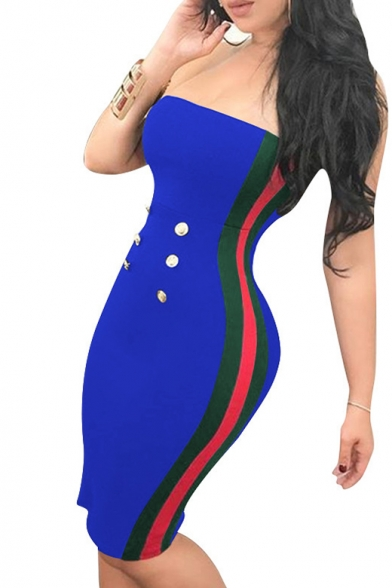 Contrast Striped Side Sleeveless Buttons Embellished Bandeau Mini Bodycon Dress